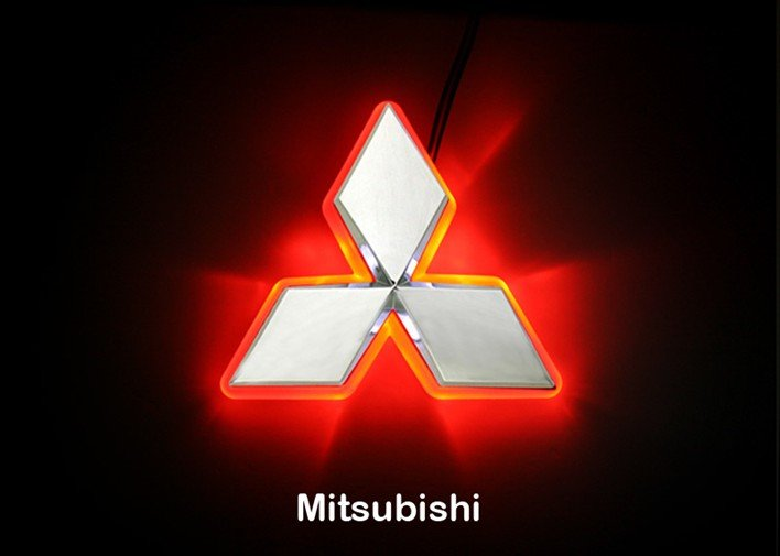 Pl200927 mitsubishi emblems red led car rear logo light for mitsubishi